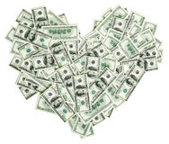En forme de coeur avec 100 billets de banque du dollar Photos libres de droits