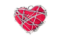 En forme de coeur avec des fils en métal Photographie stock