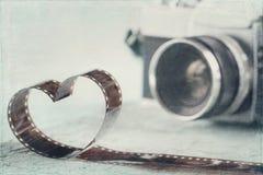 En forme de coeur du négatif sur film Image libre de droits