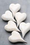 En forme de coeur en bois Cartes de voeux Valentine& x27 ; salutation de jour de s Photo stock