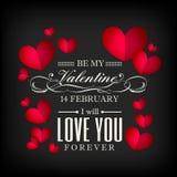 En forme de coeur rouge de jour du ` s de Valentine sur le fond noir illustration libre de droits