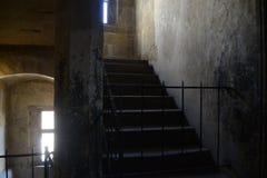 En forntida och gallerförsedd stege Arkivbild