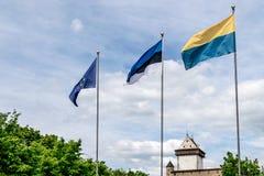 En forntida slott på en solig dag med tre flaggor fotografering för bildbyråer
