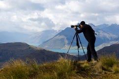 En fotógrafo de la ubicación Fotografía de archivo