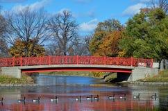 En fot- bro på Belle Isle, Detroit Royaltyfria Bilder