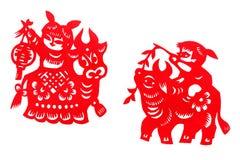 Pappers- snitt för antikt porslin Royaltyfria Bilder