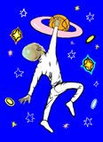 En främling spelar basket royaltyfri illustrationer