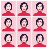 En framsida för kvinna` s Olika sinnesrörelser och känslor Uppsättning av stående Arkivbild
