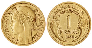 En Franc Coin Isolated arkivfoton