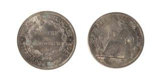 1908 en franska Indokina silver 1 Piastre Arkivfoton