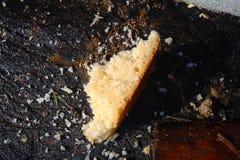 En fred av bröd på bikupan i snön royaltyfri fotografi