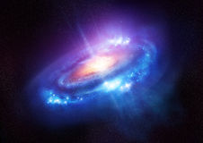 En färgglad spiralgalax i djupt utrymme Royaltyfria Bilder
