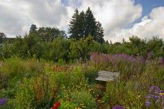 En fridsam parkbänk i en blommaträdgård Arkivbilder