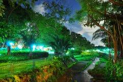 En fridsamma Bishan parkerar vid natt Fotografering för Bildbyråer