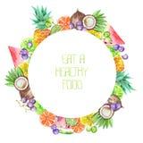 En fruktcirkelram av vattenfärgen bär frukt: druvor, ananas, kokosnöt, citron, limefrukt, citrus och annan stock illustrationer