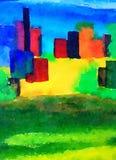 En futuristisk Awatercolor abstrakt begreppmålning Arkivfoto