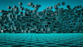 En futuristisk bakgrundsbild med kuber vektor illustrationer