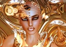 En futuristisk robotflicka i guld Royaltyfri Bild