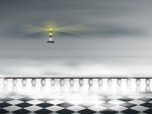 En fyr i dimman Royaltyfri Fotografi