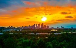 En gång i en livstidsoluppgång Austin Texas Perfect Royaltyfri Fotografi