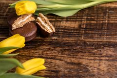 En gåva för din älskling Blommor och sötsaker med ett ställe under din text Gula tulpan och chokladkakor på en träbackg Royaltyfri Bild