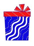 En gåva i form av en rektangulär ask är blå med en röd pilbåge Royaltyfri Fotografi