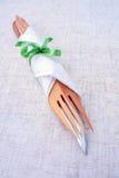 En gaffel och en kniv  Arkivbilder