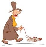 En galen man som tar hans hund för en gå huvudet för uppnosiga gulliga hundar för bakgrundstecknad filmteckenet isolerade det lyc Arkivfoton