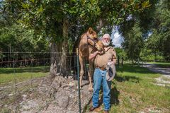 En gamal man som matar hans kamel Arkivbilder
