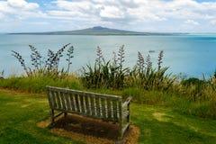 En gammal bänk på för blick fläcken ut på det norr huvudet Auckland Nya Zeeland Arkivbild
