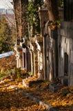En gammal begravning på en kyrkogård Arkivfoto