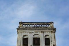 En gammal byggnad med en papegoja som sitter på överkanten arkivbild