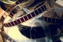 En gammal film med en film på rullen Royaltyfria Bilder