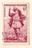 En gammal fransk portostämpel med en skådespelare från den nya gargantuaen av Francois Rabelais arkivbilder
