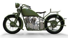 En gammal grön motorcykel av 30-tal av det 20th århundradet En illustration på en vit bakgrund med skuggor från på en nivå Arkivbild