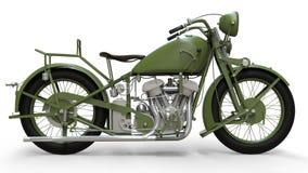 En gammal grön motorcykel av 30-tal av det 20th århundradet En illustration på en vit bakgrund med skuggor från på en nivå Fotografering för Bildbyråer