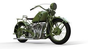 En gammal grön motorcykel av 30-tal av det 20th århundradet En illustration på en vit bakgrund med skuggor från på en nivå Royaltyfria Bilder