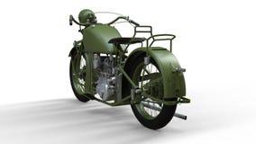 En gammal grön motorcykel av 30-tal av det 20th århundradet En illustration på en vit bakgrund med skuggor från på en nivå Arkivfoton