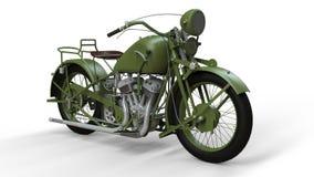En gammal grön motorcykel av 30-tal av det 20th århundradet En illustration på en vit bakgrund med skuggor från på en nivå Arkivfoto