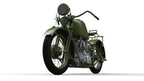 En gammal grön motorcykel av 30-tal av det 20th århundradet En illustration på en vit bakgrund med skuggor från på en nivå Royaltyfri Bild