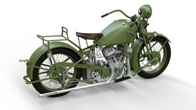 En gammal grön motorcykel av 30-tal av det 20th århundradet En illustration på en vit bakgrund med skuggor från på en nivå Royaltyfri Foto