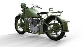 En gammal grön motorcykel av 30-tal av det 20th århundradet En illustration på en vit bakgrund med skuggor från på en nivå Arkivbilder