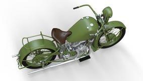 En gammal grön motorcykel av 30-tal av det 20th århundradet En illustration på en vit bakgrund med skuggor från på en nivå Royaltyfri Fotografi