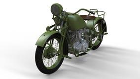 En gammal grön motorcykel av 30-tal av det 20th århundradet En illustration på en vit bakgrund med skuggor från på en nivå Royaltyfria Foton