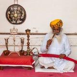 En gammal indisk man med ett härligt skägg Fotografering för Bildbyråer