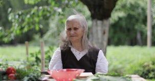 En gammal kvinna med löst grått hår sitter på en tabell i trädgården lager videofilmer