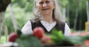 En gammal kvinna med löst grått hår sitter på en tabell i trädgården arkivfilmer