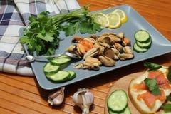 En gammal maträtt med musslor som skivar gurkor Royaltyfri Fotografi