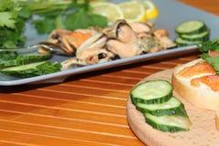 En gammal maträtt med musslor som skivar gurkor Royaltyfri Foto