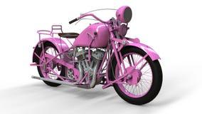 En gammal rosa motorcykel av 30-tal av det 20th århundradet En illustration på en vit bakgrund med skuggor från på en nivå Fotografering för Bildbyråer
